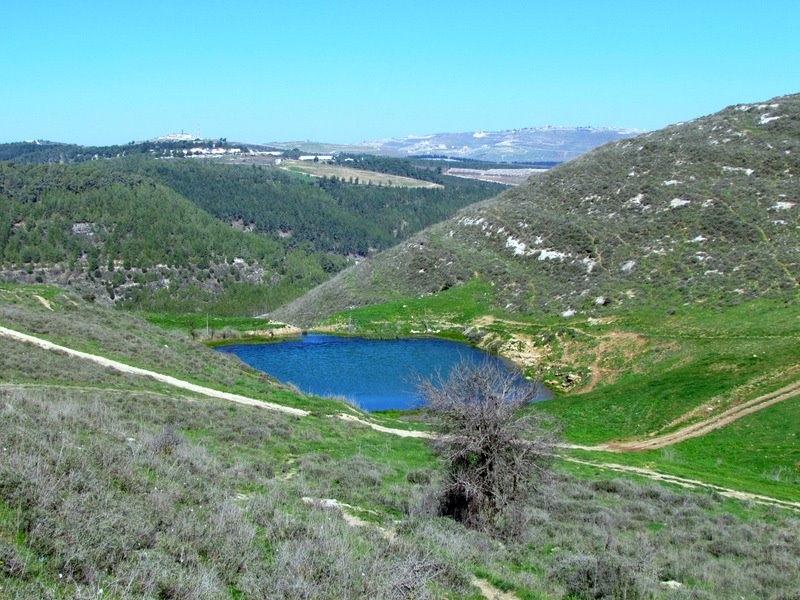 ماء قرب الجش وفي الخلفية قرى لبنانية.jpg