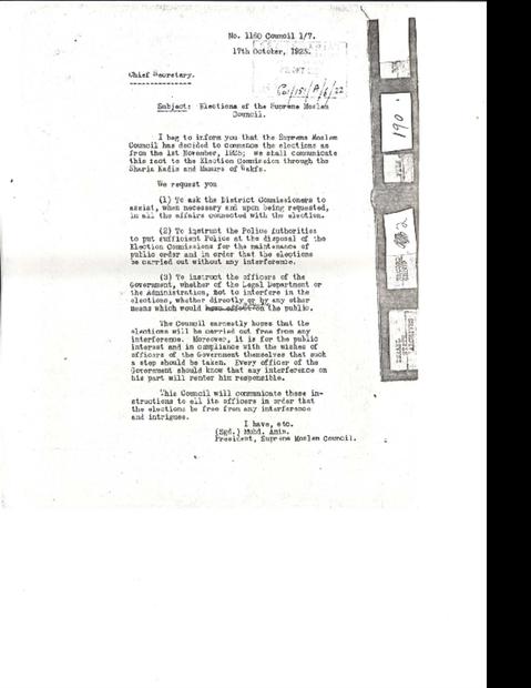 باللغة الانجليزية من الحاج امين الحسيني بخصوص الانتخابات بتاريخ 7-10-1925.pdf
