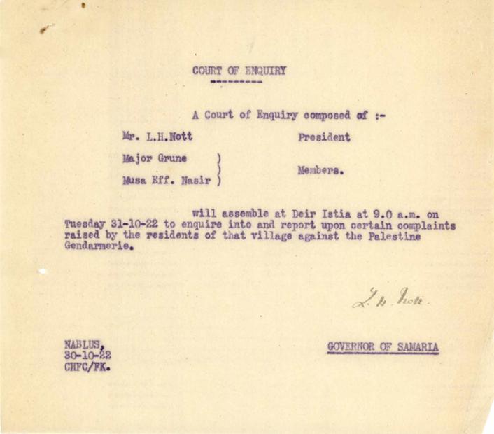 من حاكم منطقة السامرة-نابلس- إلة محكمة التحقيق بتاريخ 30-10-1922.PDF