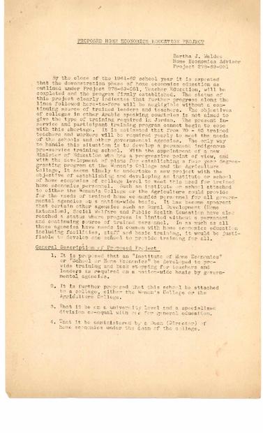 مقترح باللغة الانجليزية لتعليم الاقتصاد المنزلي بتاريخ 5-9-1961.PDF