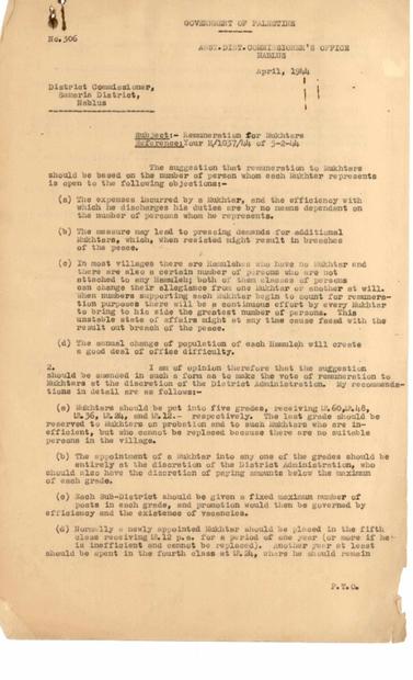 من مفوض منطقة نابلس بخصوص مكافآت المخاتير لشهر نيسان 1944.PDF