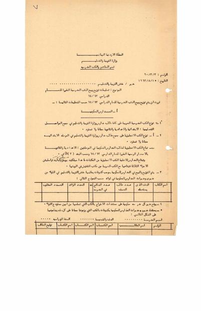 من قسم المناهج التابع لوزارة التربية والتعليم الاردنية بخصوص توزيع وبيع الكتب المدرسية بتاريخ 15-8-1963.PDF