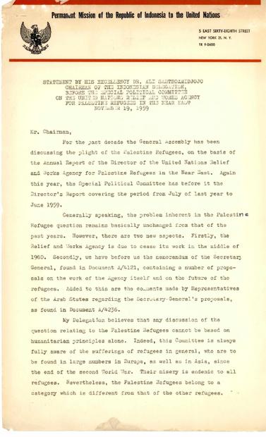 رئيس الوفد الاندونسي اما اللجنة السياسية في الجمعية العام للأمم المتحدة بخصوص اللاجئين الفلسطينيين بتاريخ 19-11-1959.PDF